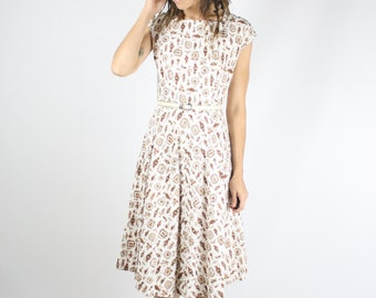 60s Day dress, Vintage cotton dress, Novelty print dress 1960s Square neck Full skirt Classic 50s 60s White Brown, Medium