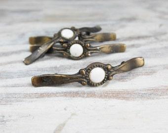 Vintage Brass Curved Drawer, Cabinet handles w/ ornate swirl design, Round Porcelain centers (set of 4)