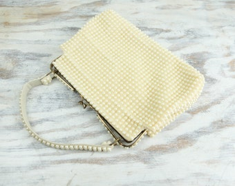 Vintage Beaded purse w/ top handles and metal clasp closure (see item details for full description)