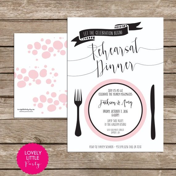 Rehearsal Dinner Invitation, Wedding Stationary, Wedding Rehearsal Dinner DIY Printable -  Lovely Little Party