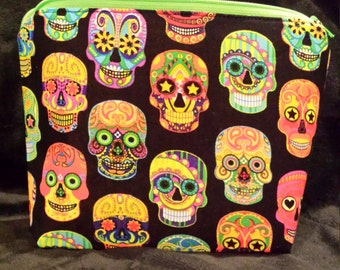 Sugar Skulls Cosmetic bag/ make up clutch/ zippered pouch/ Toiletry Storage/ travel case