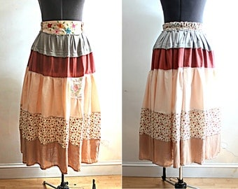 Peasant Skirt Embroidered Floral Romantic Bohemian Layered Look Spring Summer Size Small Medium