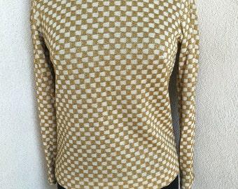 Vintage mod knit gold checker ivory top zipper short sz S