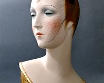 Cobalt Blue Crown Fascinator Headband Veil 1950's Women's Hats Beaded Headpieces Cocktails Wedding Formal Vintage Accessories