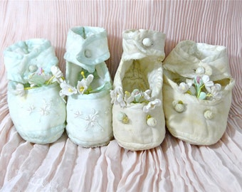 Antique Baby Booties Shoes French Silk Rosettes / Set 2 Pairs Baby Booties Large Doll Silk Shoes Early Century 1910's