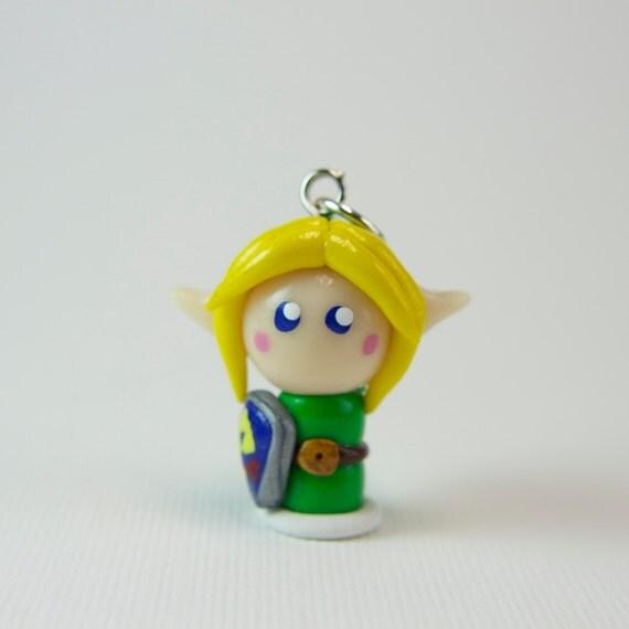 Legend of Zelda Link chibi-Necklace, cell phone strap, dust plug