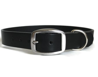 """Black Leather Dog Collar 1"""" Wide for Medium & Large Dogs Handmade - Angel Leather"""