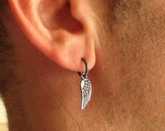 Angel Wing Earring - Mens Earrings - Black Hoop Earring for men - Unisex Hoops - Black Sterling Silver - Men's Jewelry - gothic Earring