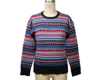 vintage 1980s ski sweater / Meister / wool / Nordic sweater / pullover sweater / men's women's vintage sweater / size medium