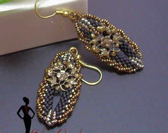Beading tutorial and pattern for Ephiphany seed bead earrings INSTANT DOWNLOAD