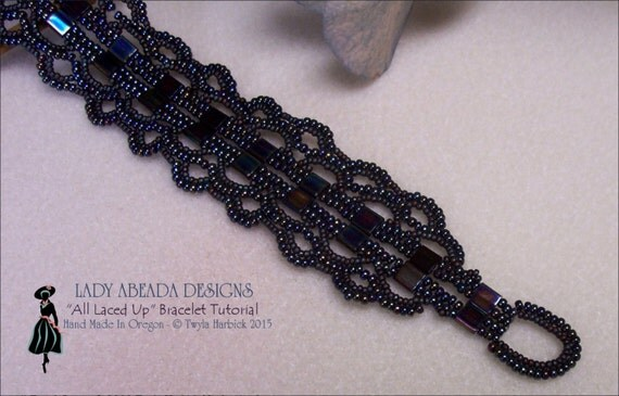 "Beading Tutorials tila bead patterns""All Laced Up"" Bracelet INSTANT DOWNLOAD"