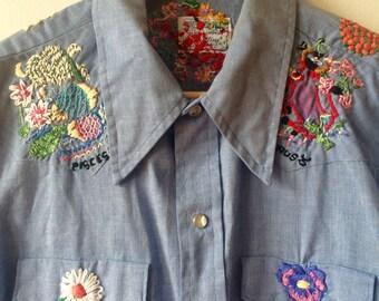 Zodiak Embroidery Chambray Western Shirt Women's