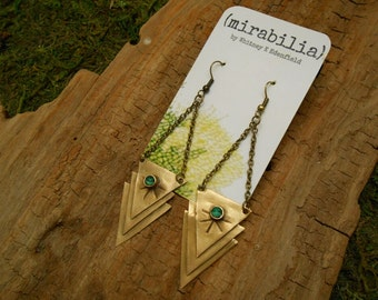 """Triple Brass Triangle """"Delta Velorum"""" Earrings With Malachite"""