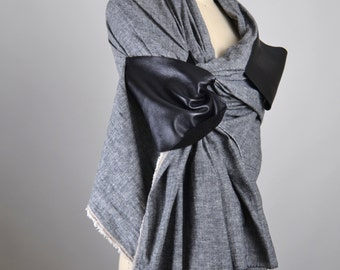 Linen and Leather Scarf - OOAK Spring Scarf - Spring Scarves - Women's Accessories - Leather Scarf - Men's Scarf