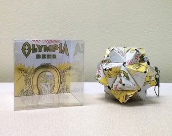 Olympia Beer Can Origami Ornament // Upcycled Recycled Repurposed Art // Valentines Day // weird gifts // Lucky