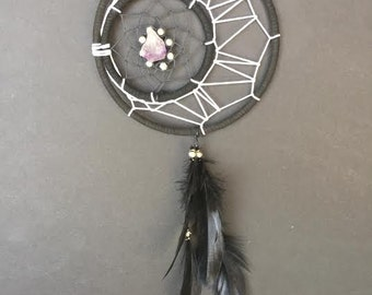 Dream Catcher - Black Crescent Moon with Amethyst