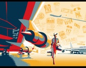 "Retro, vintage , travel poster, illustration,  11x17"""