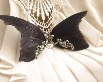 Head wings black hand-dyed in gilded silver ~ Ethical Taxidermy ~ Twins ~ Gemini ~ Greek God / Goddess ~ Wearable Bird Wings ~ Steampunk