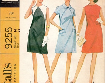 """1960s Women's High-neckline Dress Pattern - Size 14, Bust 36"""" - McCall's 9255"""
