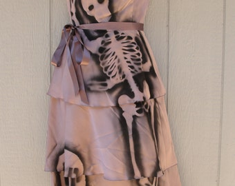 Upcycled mini dress hand painted with skeletons size S Small labeled 6 day of the dead / halloween / dia de los muertos