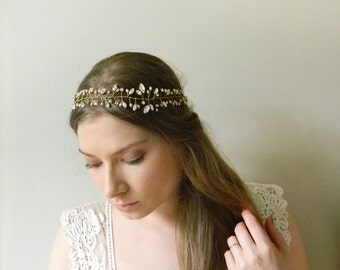Crystal Vine Headpiece 'Laurette' - hand wired Swarovski cystal and freshwater pearl bridal hair vine - style 016