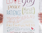 Fruit of the Spirit PRINT - Embroidered Lettering Art Print - Home Decor and Housewarming Gift