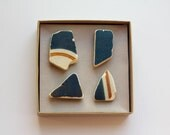 Beach founds magnets, Ceramic pottery shards magnets, blue brown stripe ceramic magnets, porcelain magnet, Set 4 Magnets super strong