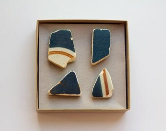 Blue Ceramic Magnets   Sea Beach Finds Ceramic Magnets Set of 4, blue orange pottery shard, stripe ceramic, Israel sea Magnets super strong