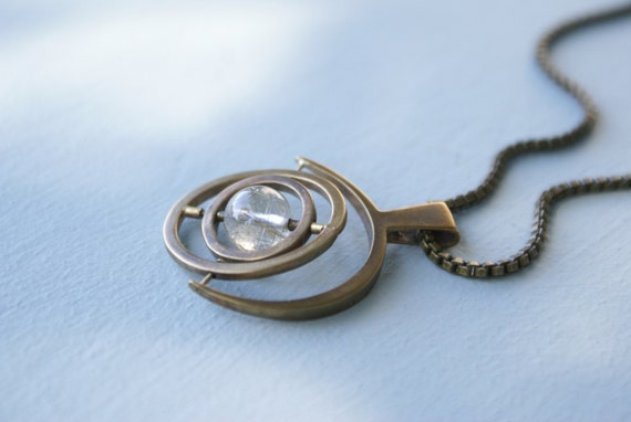 5.0 Bronze Gyroscope - rutilated quartz
