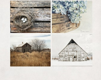 Rustic Home Decor, Wall Art Prints, Farmhouse Chic Seasonal Decor, Blue Gray Brown, Spring Summer Fall Winter, Photography Set