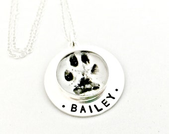ACTUAL Paw Print Personalized Photo Pendant Necklace - Custom Sterling Silver Hand Stamped Remembrance Jewelry, In Memory of, Pet Loss Gift