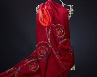 Burgundy Red Embroidered Scarf, Felted Red Tulips Shawl, OOAK Handmade Wrap, Gift For Her
