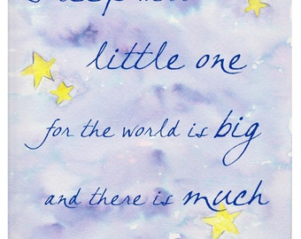 Typography Print for Children, Word Art for Kids, Sleep Well Baby Poster, Watercolor Inspirational Text Painting, Stars and Sky Home Decor
