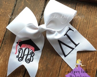 Graduation Bow, Monogrammed Bow for Graduation, Graduation Cap Bow, 2017 Graduation Bow, Big Sorority Graduation Bow, PICK COLORS