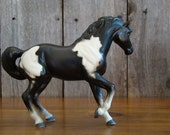 Imperious Stallion - Vintage Mid Century Porcelain Ceramic Pinto Horse Figurine, Unmarked