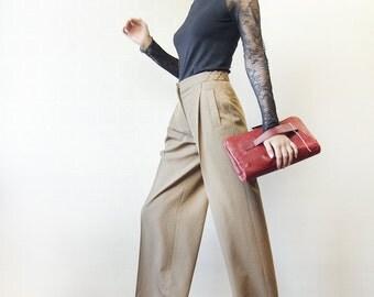 Vintage VERONIQUE BRANQUINHO beige brown wool high waist front pleat straight leg wide trousers pants S