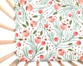 Crib Sheet Winter Floral. Fitted Crib Sheet. Baby Bedding. Crib Bedding. Minky Crib Sheet. Crib Sheets. Floral Crib Sheet.