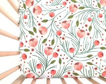 Crib Sheet Winter Floral. Fitted Crib Sheet. Baby Bedding. Crib Bedding. Minky Crib Sheet. Crib Sheets. Floral Crib Sheet.