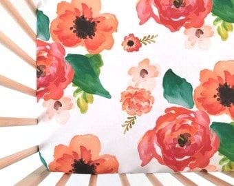 Crib Sheet Floral Dreams. Fitted Crib Sheet. Baby Bedding. Crib Bedding. Minky Crib Sheet. Crib Sheets. Floral Crib Sheet.