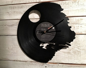 Death Star Clock   Vinyl Record • Upcycled Recycled Repurposed • Star Wars • Handmade • Silhouette Portrait • Shadow Art • Unique Gifts