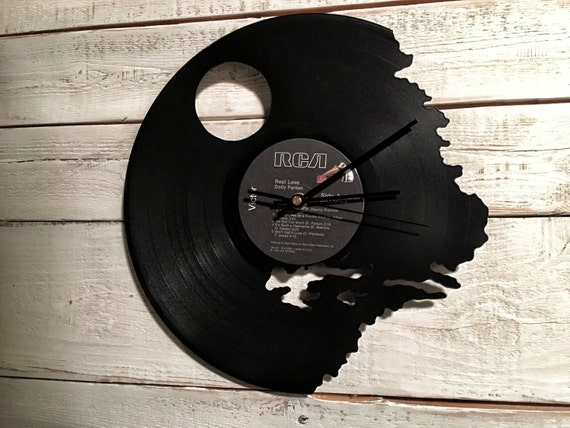 Death Star Clock | Vinyl Record • Upcycled Recycled Repurposed • Star Wars • Handmade • Silhouette Portrait • Shadow Art • Unique Gifts