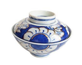 Antique Japanese Porcelain Bowl with Lid. Ceramic Bowl. Blue and White with Gilt. Japanese Sometsuke. Japanese Antique. Pottery. Meiji Era.