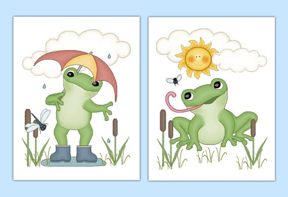 Frog Nursery Prints Wall Art Woodland Forest Pond Animal Kids