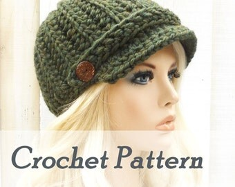 Instant Download Crochet Pattern Womens Hat newsboy hat Crocheted cap warm winter hat with brim newsboy cap ribbed hat Chunky hat BEVERINA