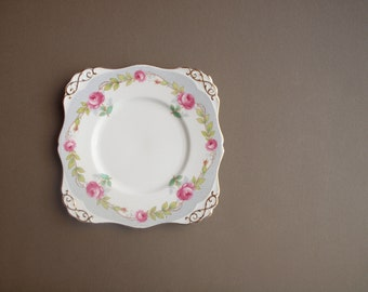 Tuscan pink rose wall plate square handled cake plate fine bone china elegant cottage style gold trim romantic vanity tray  hostess gift