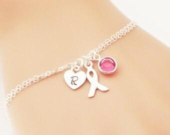 Breast Cancer Awareness Bracelet, Sterling Silver, Personalized Breast Cancer Bracelet, Cancer Ribbon, Cancer Survivor Gift, Cancer Jewelry