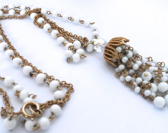 Vintage White Glass Bead and Faceted Aurora Borealis Crystal Bead Tassel Necklace Vintage Jewelry White Milk Glass Jewelry