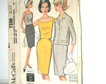 1960s Dress Sewing Pattern McCalls Patterns 7330 Womens Jacket Top & Skirt Misses Separates Pattern Size 14 16 Bust 34 36 Vintage