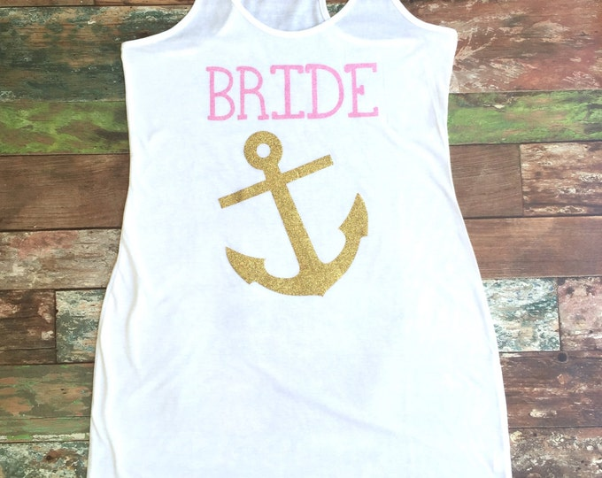 Bridesmaid Tank Dress, Bridesmaid gift, Swimsuit Coverup, Anchor Coverup, Bachelorette Party Tank Dress, Cruise, Nautical, Tank Dress