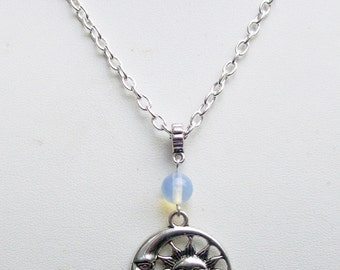 Sun and Moon Pendant Necklace, Moonstone Gemstone, Crescent Moon, Pagan, Moon Necklace, Wicca